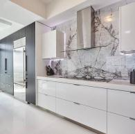 Two-toned kitchen: Grey Portuna & White High Gloss